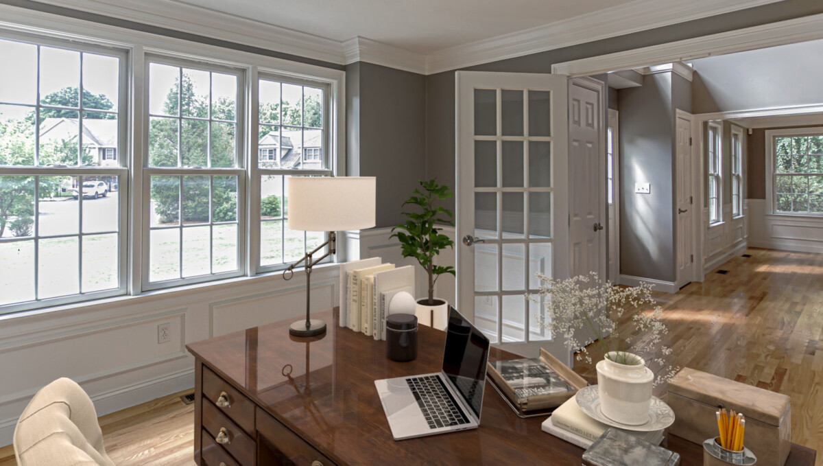 Virtually Staged Home Office Space in a 2-story colonial style home in Natick, MA.